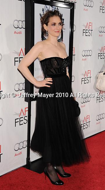 "HOLLYWOOD, CA. - November 11: Winona Ryder arrives at the ""Black Swan"" screening during AFI Fest 2010 Closing Night Gala at Grauman's Chinese Theatre on November 11, 2010 in Hollywood, California."