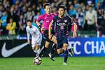 FC Kitchee midfielder Yang Huang (r) during an attack of FC Kitchee during the AFC Champions League 2017 Preliminary Stage match between  Kitchee SC (HKG) vs Hanoi FC (VIE) at the Hong Kong Stadium on 25 January 2017 in Hong Kong, Hong Kong. Photo by Marcio Rodrigo Machado/Power Sport Images