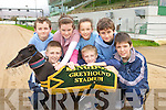 Pictured practicing for a race between a greyhound and a runner from St Brendans athlethic club during their fundraising night at Kingdom Greyhound stadium, From left Conn Marley, Shane Lowth, Cona?gh Fitzgerald, Grainne Raggett, Niall MArley and Aidan Nolan the greyhound is Bearhaven Sal.