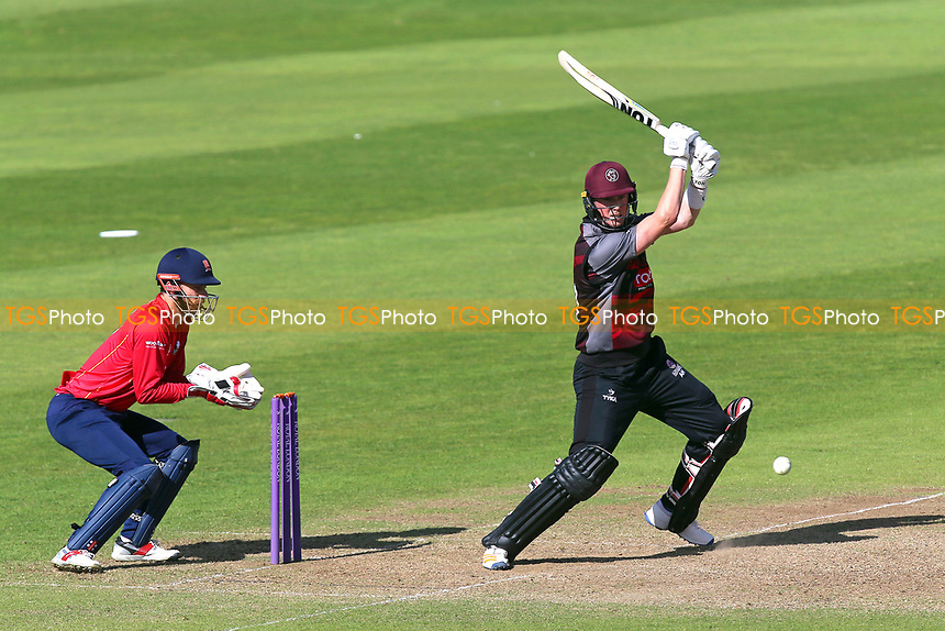 Adam Hose in batting action for Somerset as James Foster looks on from behind the stumps during Somerset vs Essex Eagles, Royal London One-Day Cup Cricket at The Cooper Associates County Ground on 14th May 2017