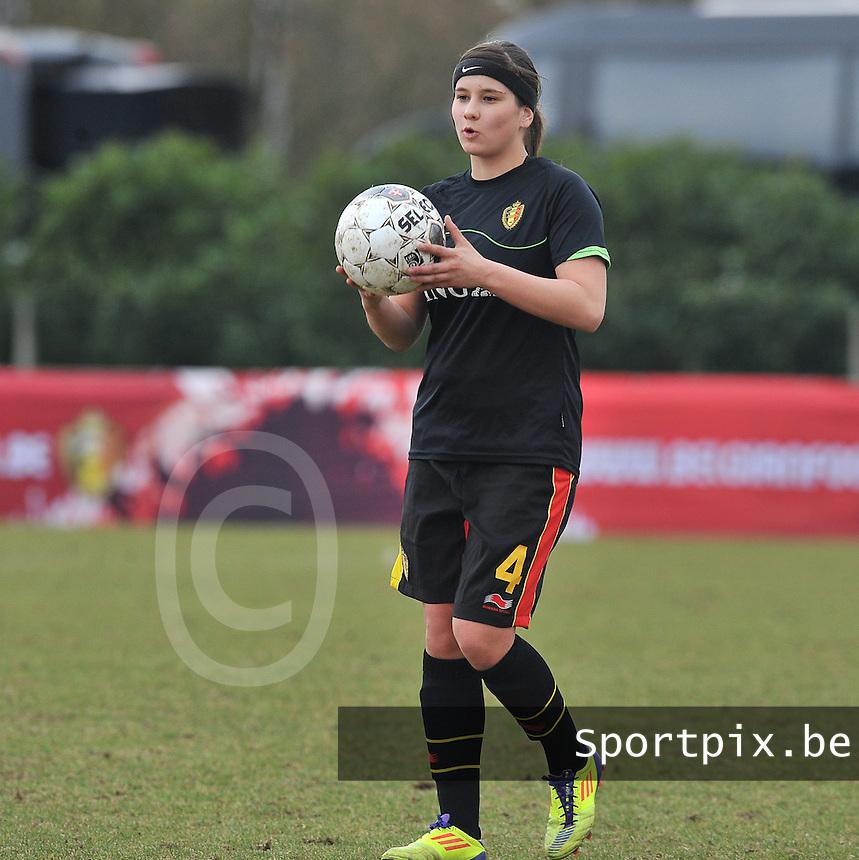 Denmark U17 - Belgium U17 : Jolien Varewyck .foto DAVID CATRY / Vrouwenteam.be