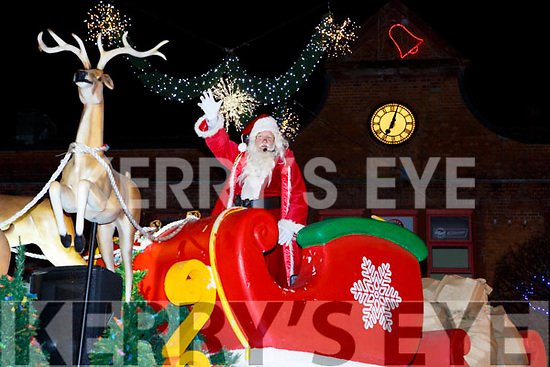 Santa Claus arriving at the Kiilarney Christmas parade through the packed streets  on Saturday night