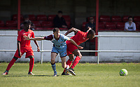Luke Troke of Tuffley Rovers & Niran Butler of Flackwell Heath during the UHLSport Hellenic Premier League match between Flackwell Heath v Tuffley Rovers at Wilks Park, Flackwell Heath, England on 20 April 2019. Photo by Andy Rowland.