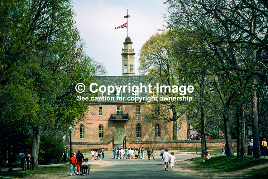 A Union Jack flies over the Capital Building in the Colonial Williamsburg Historic Area, the restored capital of 18th century Virginia, 19880505CW5..Copyright Image from Victor Patterson, 54 Dorchester Park, Belfast, UK, BT9 6RJ..Tel: +44 28 9066 1296.Mob: +44 7802 353836.Voicemail +44 20 8816 7153.Skype: victorpattersonbelfast.Email: victorpatterson@me.com.Email: victorpatterson@ireland.com (back-up)..IMPORTANT: If you wish to use this image or any other of my images please go to www.victorpatterson.com and click on the Terms & Conditions. Then contact me by email or phone with the reference number(s) of the image(s) concerned.