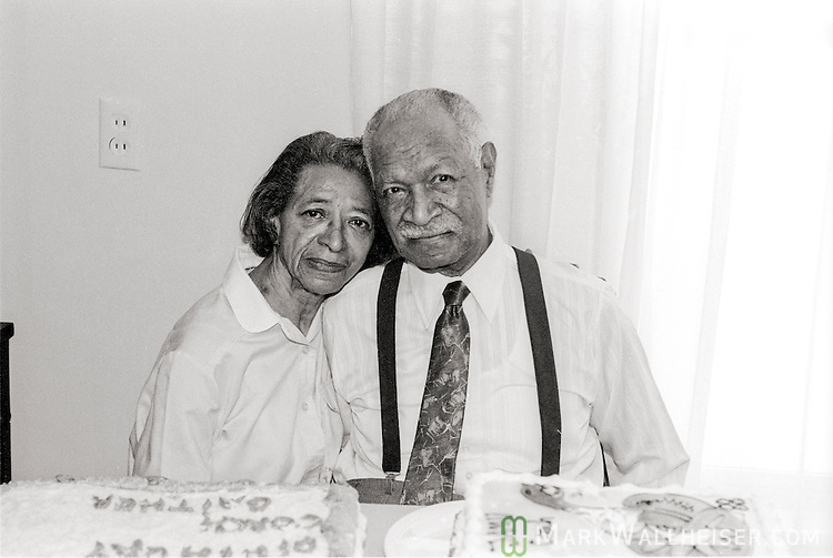 Legendary FAMU football coach Alonzo Smith (Jake) Gaither and his wife Sadie at his home in Tallahassee on his 88th birthday April 11, 1991.  Gaither compiled a 203-36-4 record, a .844 winning percentage  from 1945 till 1969.  Gaither died two years later at 90.