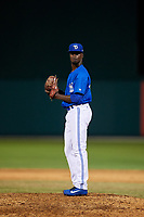 Dunedin Blue Jays relief pitcher Dany Jimenez (43) during a Florida State League game against the Clearwater Threshers on May 11, 2019 at Jack Russell Memorial Stadium in Clearwater, Florida.  Clearwater defeated Dunedin 9-3.  (Mike Janes/Four Seam Images)