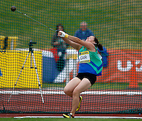 Photo: Richard Lane/Richard Lane Photography..Aviva World Trials & UK Championships athletics. 11/07/2009. Rachel Gair in the women's hammer.