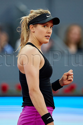 May 8th 2017, Caja Magica, Madrid, Spain; Mutua Madrid Open tennis tournament; Eugenie Bouchard of Canada celebrates a point;