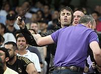 Manchester City's fan Liam Gallagher cheers his team from the stands during Champions League match. September 18, 2012. (ALTERPHOTOS/Alvaro Hernandez). /NortePhoto.com<br /> <br /> **CREDITO*OBLIGATORIO** *No*Venta*A*Terceros*<br /> *No*Sale*So*third* ***No*Se*Permite*Hacer Archivo***No*Sale*So*third<br /> <br /> <br /> **CREDITO*OBLIGATORIO** *No*Venta*A*Terceros*<br /> *No*Sale*So*third* ***No*Se*Permite*Hacer Archivo***No*Sale*So*third