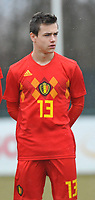 20180308 - TUBIZE , BELGIUM : Belgian Bram Van Laere pictured during a friendly game between the teams of the Belgian Red Devils Under 16 and Northern Ireland Under 16 at the Belgian Football Centre in Tubize , Thursday 8 th March 2018 ,  PHOTO Dirk Vuylsteke | Sportpix.Be