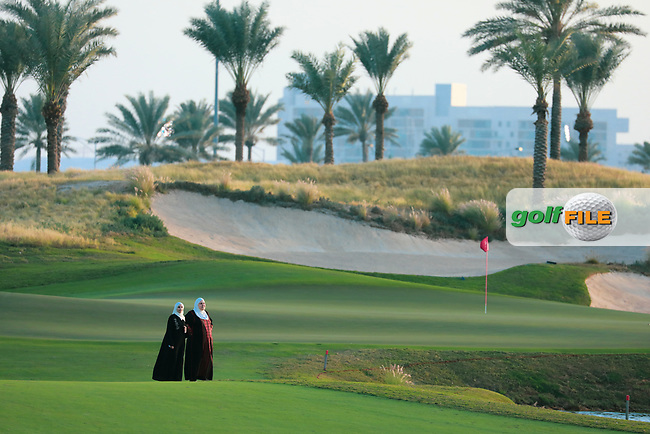 Local women on the 9th fairway during previews Fatima Bint Mubarak Ladies Open played at Saadiyat Beach Golf Club, Abu Dhabi, UAE. 09/01/2019<br /> Picture: Golffile | Phil Inglis<br /> <br /> All photo usage must carry mandatory copyright credit (© Golffile | Phil Inglis)