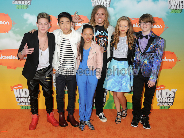 12 March 2016 - Inglewood, California - Ricardo Hurtado, Lance Lim, Breanna Yde, Tony Cavalero, Jade Pettyjohn, Aidan Miner. 2016 Nickelodeon Kids' Choice Awards held at The Forum. Photo Credit: Byron Purvis/AdMedia