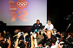 Engeland, London, 27 juli 2012.Olympische Spelen London.Persconferentie van Team USA Basketbal.Kobe Bryant en LeBron James van Team USA