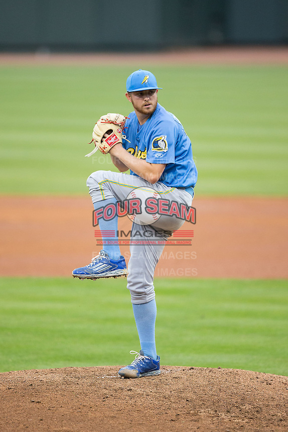 Myrtle Beach Pelicans starting pitcher Paul Blackburn (33) in action against the Winston-Salem Dash at BB&T Ballpark on April 18, 2015 in Winston-Salem, North Carolina.  The Pelicans defeated the Dash 8-4 in game two of a double-header.  (Brian Westerholt/Four Seam Images)