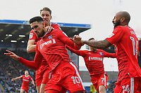 Conor Wilkinson of Gillingham (m) celebrates scoring Gillingham 's first goal with captain Lee Martin (l) and Josh Parker  during Portsmouth vs Gillingham, Sky Bet EFL League 1 Football at Fratton Park on 10th March 2018