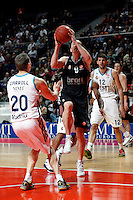 Real Madrid's Jeycee Carroll  Nikola Mirotic and Brose's Karsten Tadda during Euroliga match. February 28,2013.(ALTERPHOTOS/Alconada)