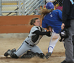 College of Southern Idaho's Averie Schroeder tags Western Nevada College's Jennie Quam out at the plate during a college softball game in Carson City, Nev., on Friday, March 16, 2012..Photo by Cathleen Allison