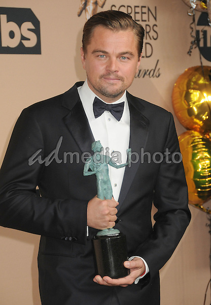 30 January 2016 - Los Angeles, California - Leonardo DiCaprio. 22nd Annual Screen Actors Guild Awards held at The Shrine Auditorium. Photo Credit: Byron Purvis/AdMedia