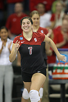 16 December 2006: Stanford Cardinal Heather Hernandez during Stanford's 30-27, 26-30, 28-30, 27-30 loss against the Nebraska Huskers in the 2006 NCAA Division I Women's Volleyball Final Four Championship match at the Qwest Center in Omaha, NE.
