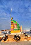 Small frozen houseboat in yellowknife