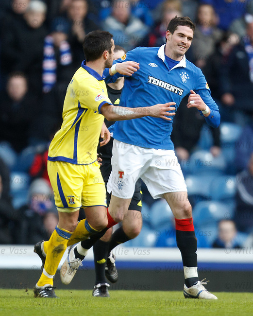 Tim Clancy and Kyle Lafferty exchange handbags