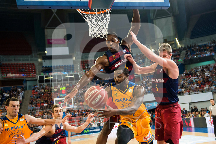 Herbalife Gran Canaria's player Darko Planinic and Bo McCalebb and FC Barcelona Lassa player Victor Claver, Joey Dorsey and Justin Doellman during the final of Supercopa of Liga Endesa Madrid. September 24, Spain. 2016. (ALTERPHOTOS/BorjaB.Hojas)