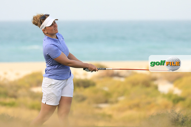 Nanna Koerstz Madsen (DEN) during the first round of the Fatima Bint Mubarak Ladies Open played at Saadiyat Beach Golf Club, Abu Dhabi, UAE. 10/01/2019<br /> Picture: Golffile | Phil Inglis<br /> <br /> All photo usage must carry mandatory copyright credit (&copy; Golffile | Phil Inglis)