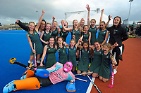 The St Cuthberts girls hockey team celebrate winning a penalty shootout against Diocesan during the AIMS games at Bay Arena in Mount Maunganui, New Zealand on Thursday, 14 September 2017. Photo: Dave Lintott / lintottphoto.co.nz