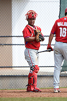 Philadelphia Phillies Wilson Garcia (7) during a minor league spring training intrasquad game on March 27, 2015 at the Carpenter Complex in Clearwater, Florida.  (Mike Janes/Four Seam Images)