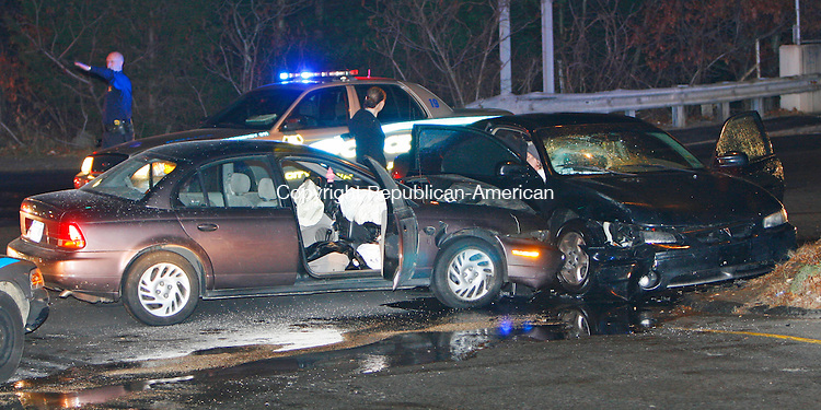 WATERBURY, CT, 11/24/08- 112408BZ09- The I-84 East on-ramp at exit 25 was blocked by a two car accident at the intersection of Reidville Drive and Scott Road in Waterbury Monday night. <br /> Jamison C. Bazinet Republican-American