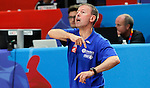 France's Vincent Collet gestures during European championship basketball match for third place between France and Serbia on September 20, 2015 in Lille, France  (credit image & photo: Pedja Milosavljevic / STARSPORT)