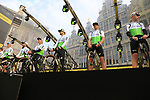 Team Dimension Data on stage at the team presentation in Antwerp before the start of the 2019 Ronde Van Vlaanderen 270km from Antwerp to Oudenaarde, Belgium. 7th April 2019.<br /> Picture: Eoin Clarke | Cyclefile<br /> <br /> All photos usage must carry mandatory copyright credit (&copy; Cyclefile | Eoin Clarke)