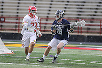 College Park, MD - February 25, 2017: Yale Bulldogs m Jack Tigh (18) looks to pass the ball during game between Yale and Maryland at  Capital One Field at Maryland Stadium in College Park, MD.  (Photo by Elliott Brown/Media Images International)