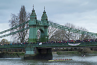 Hammersmith. London. United Kingdom,  Spectators on Hammersmith Bridge,  as Oxford Brookes pass under the bridge. 2018 Men's Head of the River Race.  Championship Course, Putney to Mortlake. River Thames, <br /> <br /> Sunday   11/03/2018<br /> <br /> [Mandatory Credit:Peter SPURRIER Intersport Images]<br /> <br /> Leica Camera AG  M9 Digital Camera  1/250 sec. 50 mm f. 160 ISO.  17.5MB