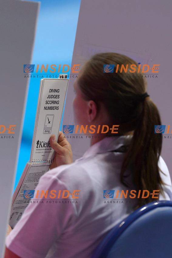 JUDGE <br /> Team Event Final <br /> London, Queen Elizabeth II Olympic Park Pool <br /> LEN 2016 European Aquatics Elite Championships <br /> Diving  <br /> Day 01 20160509<br /> Photo Andrea Staccioli/Deepbluemedia/Insidefoto