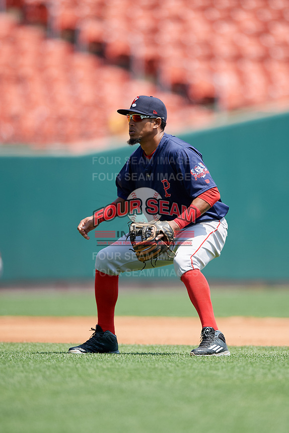 Pawtucket Red Sox shortstop Deiner Lopez (24) during a game against the Buffalo Bisons on June 28, 2018 at Coca-Cola Field in Buffalo, New York.  Buffalo defeated Pawtucket 8-1.  (Mike Janes/Four Seam Images)