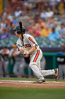 Aberdeen IronBirds shortstop Adam Hall (1) hits a single during a game against the Tri-City ValleyCats on August 27, 2018 at Joseph L. Bruno Stadium in Troy, New York.  Aberdeen defeated Tri-City 11-5.  (Mike Janes/Four Seam Images)