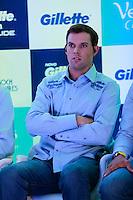 ATENÇÃO EDITOR: FOTO EMBARGADA PARA VEÍCULOS INTERNACIONAIS. SAO PAULO, SP, 06 DE DEZEMBRO DE 2012. APRESENTAÇÃO DO TORNEIO GILLETTE FEDERER TOUR.  o tenista Bob Bryan durante a apresentação do novo torneio Gillette Federer Tour,  na manhã desta quinta feira na zona sul da capital paulista. O Gillette Federer Tour reunirá, durante quatro dias, o melhor do tênis mundial, no Ginásio do Ibirapuera, de 6 a 9 de dezembro, com a participação de grandes estrelas como Roger Federer, Tommy Haas, Thomaz Bellucci, Jo-Wilfried Tsonga, Tommy Robredo, Victoria Azarenka, Maria Sharapova, Serena Williams, Caroline Wozniacki, Bob e Mike Bryan e Marcelo Melo e Bruno Soares.  FOTO ADRIANA SPACA - BRAZIL PHOTO PRESS
