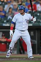 Iowa Cubs Daniel Vogelbach (20) bats during the Pacific Coast League game against the Memphis Redbirds at Principal Park on June 6, 2016 in Des Moines, Iowa.  Memphis won 6-2.  (Dennis Hubbard/Four Seam Images)