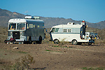 Home-built motorhomes in the Arizona desert