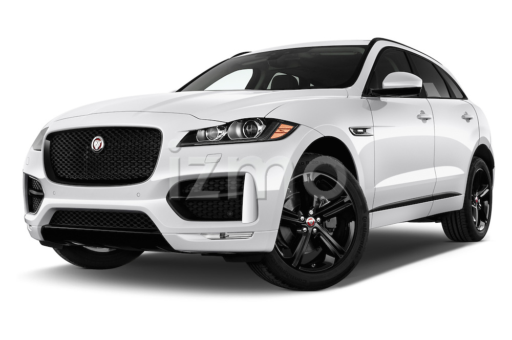 Stock pictures of low aggressive front three quarter view of 2018 Jaguar F-PACE 20d-R-Sport-AWD 5 Door SUV Low Aggressive