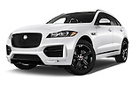 Stock pictures of low aggressive front three quarter view of 2017 Jaguar F-PACE 20d-R-Sport-AWD 5 Door SUV Low Aggressive
