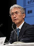 February 2, 2017, Tokyo, Japan - Japan's electronics giant Sony CFO Kenichiro Yoshida announces the company's third quarter financial result at the Sony headquaters in Tokyo on Thursday, February 2, 2017. Sony said that group net profits would drop by 82 percent for the fiscal year ending March due to huge losses in its movie business.    (Photo by Yoshio Tsunoda/AFLO) LWX -ytd-