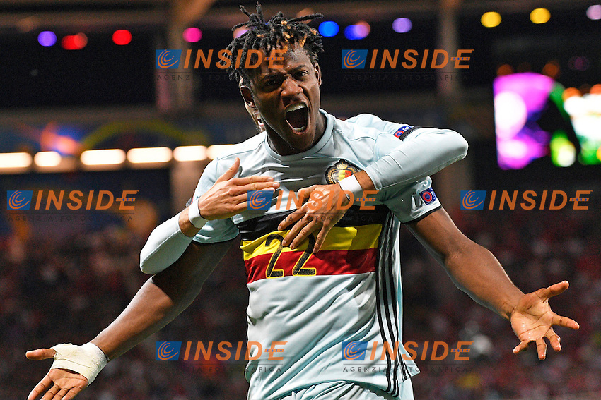 Michy Batshuayi forward of Belgium celebrates scoring a goal   <br /> Toulouse 26-06-2016 Stade de Toulouse Football Euro2016 Hungary - Belgium / Ungheria - Belgio Round of 16. Foto Peter De Voecht / Panoramic / Insidefoto