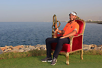 Joost Luiten (NED) poses with the trophy after the final round of the NBO Open played at Al Mouj Golf, Muscat, Sultanate of Oman. <br /> 18/02/2018.<br /> Picture: Golffile | Phil Inglis<br /> <br /> <br /> All photo usage must carry mandatory copyright credit (&copy; Golffile | Phil Inglis)