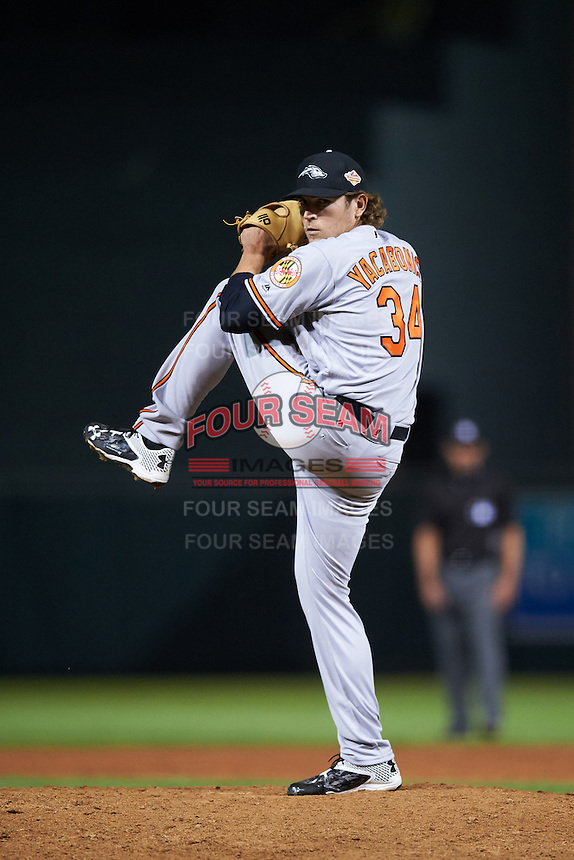 Peoria Javelinas pitcher Jimmy Yacabonis (34), of the Baltimore Orioles organization, during a game against the Salt River Rafters on October 11, 2016 at Salt River Fields at Talking Stick in Scottsdale, Arizona.  The game ended in a 7-7 tie after eleven innings.  (Mike Janes/Four Seam Images)