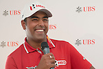 Anirban Lahiri of India answers questions in UBS pavilion during Hong Kong Open golf tournament at the Fanling golf course on 23 October 2015 in Hong Kong, China. Photo by Moses Ng / Power Sport Images