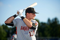 Aberdeen Ironbirds designated hitter Chris Shaw (17) during warmups before a game against the Batavia Muckdogs on July 14, 2016 at Dwyer Stadium in Batavia, New York.  Aberdeen defeated Batavia 8-2. (Mike Janes/Four Seam Images)