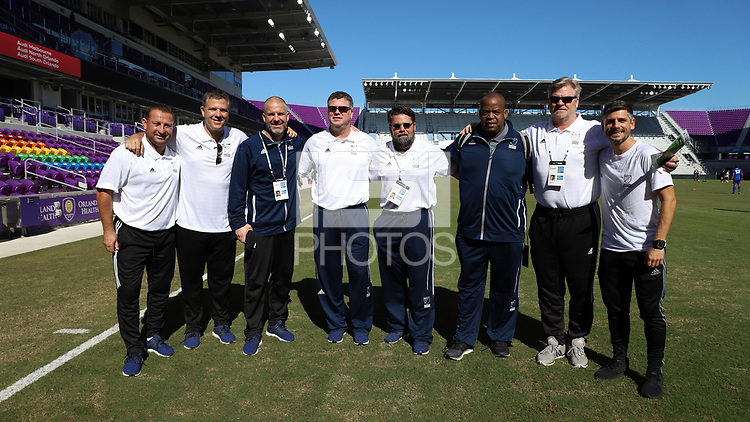 Orlando, Florida - Wednesday January 17, 2018: Adrian Solca, Todd Yeagley, Bryan Scales, Kris Kelderman, John Trask, Bo Oshoniyi, Greg Andrulis, and Luchi Gonzalez. Match Day 3 of the 2018 adidas MLS Player Combine was held Orlando City Stadium.