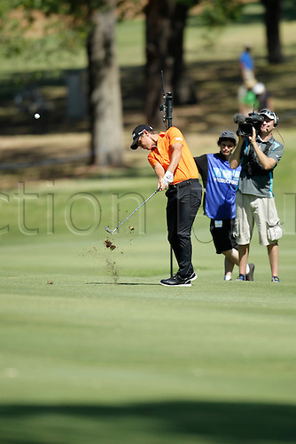 28.02.2016. Perth, Australia. ISPS HANDA Perth International Golf. Jason Scrivener (AUS) plays an approach shot on the 9th during his final round.